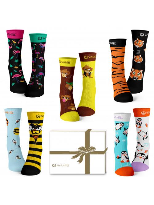 Ponožky Divoké Zvířata Wantee 5-pack dárkový box