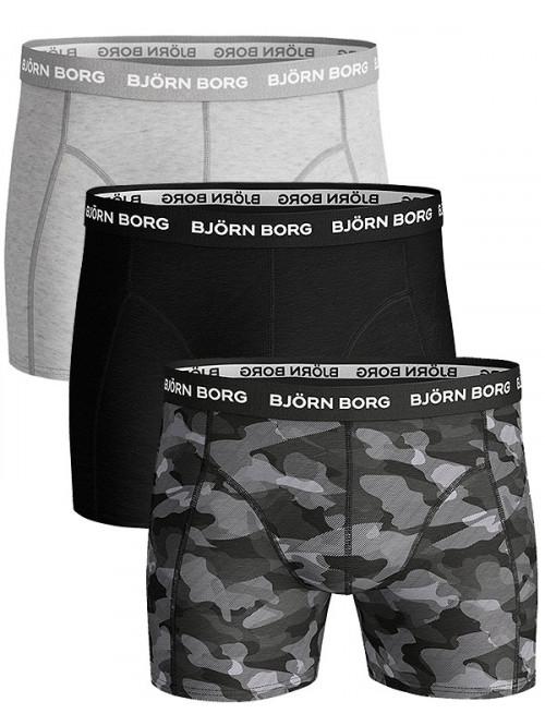 Pánské boxerky Björn Borg Shadeline Essential 3-pack-šedé, šedé army, černé