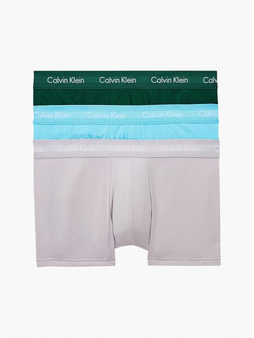 Pánské boxerky Calvin Klein Cotton Stretch Low Rise Trunk zelené, modré, šedé 3-pack