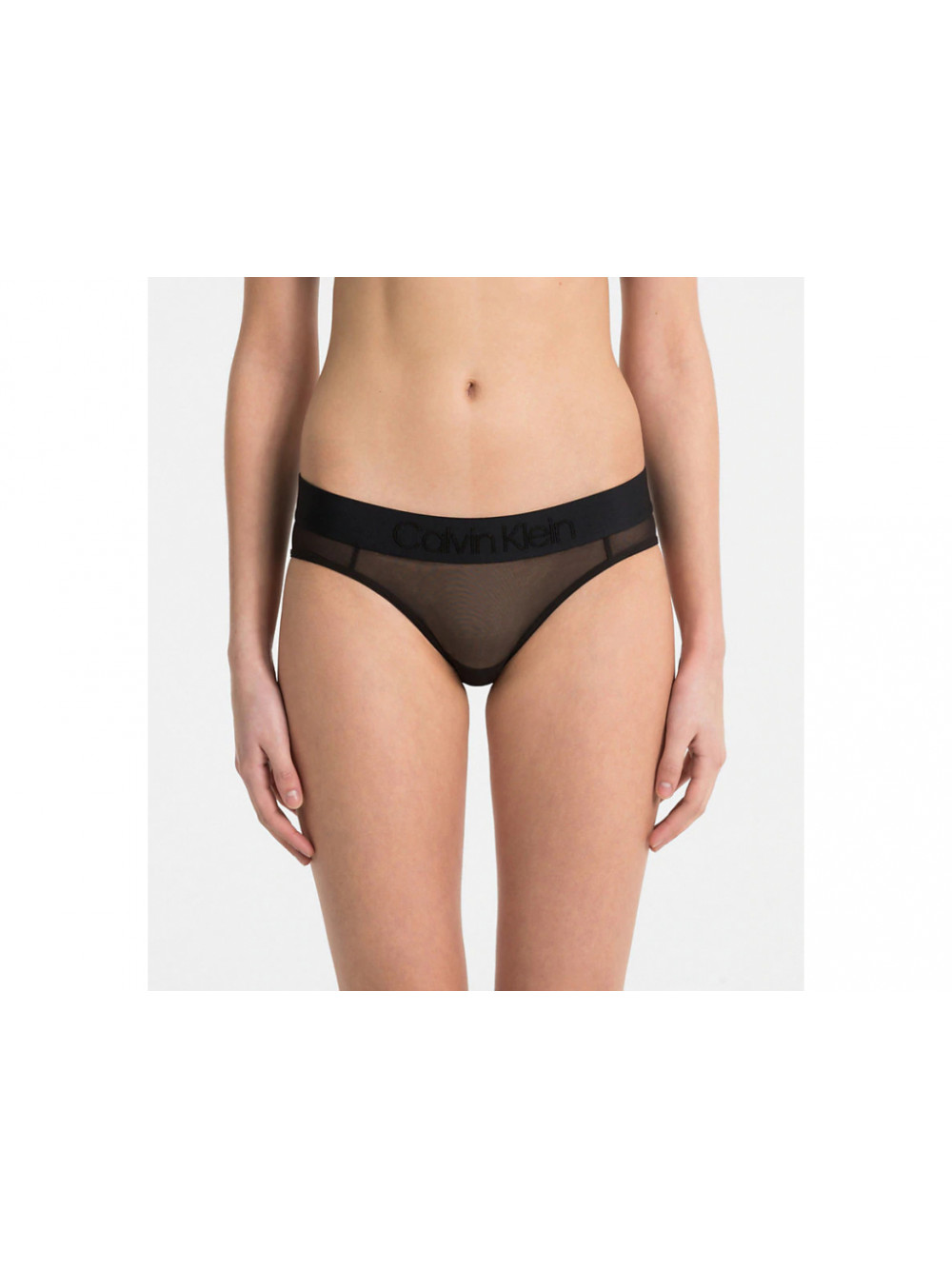 Dámské kalhotky Calvin Klein Bikini Tonal Logo Mesh černé