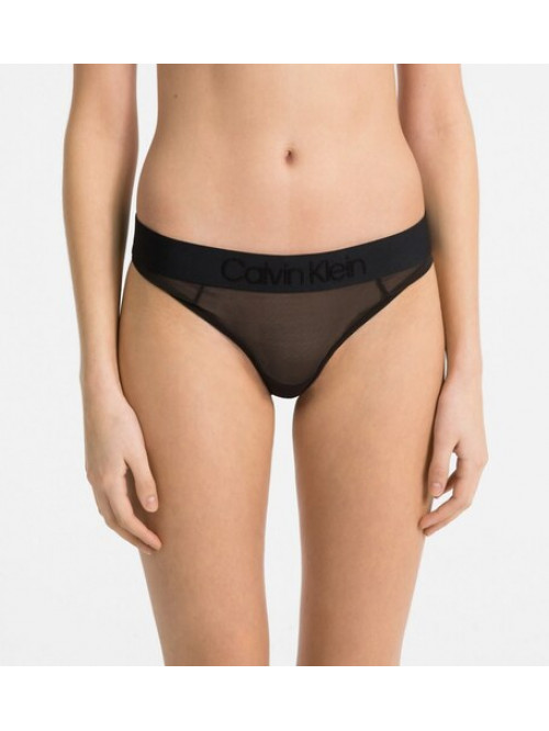 Dámské kalhotky Calvin Klein Tonal Logo Bikini Mesh černé