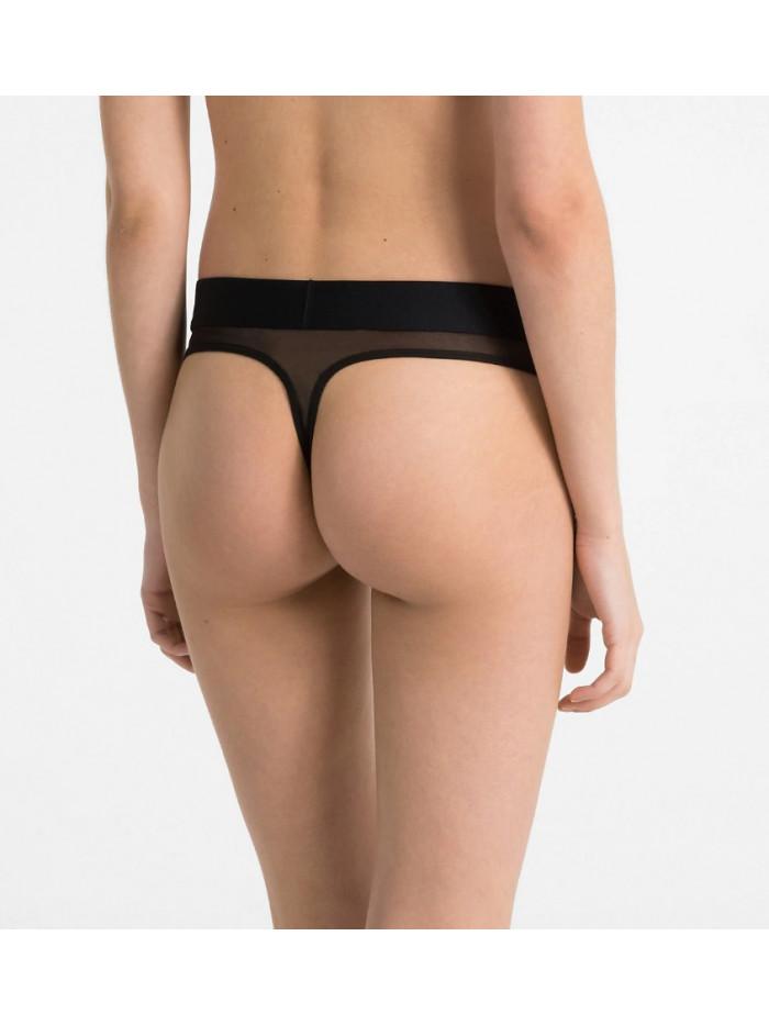 Dámská tanga Calvin Klein Tonal Logo černé