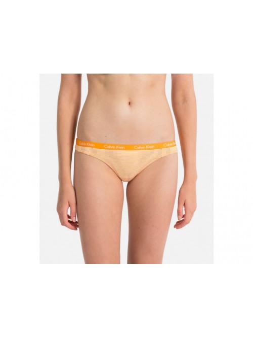 Dámské tanga Calvin Klein Carousel Thong Vibration proužkované žluté