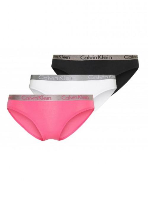 Dámské kalhotky Calvin Klein Radiant Cotton černé, bílé, růžové 3-pack