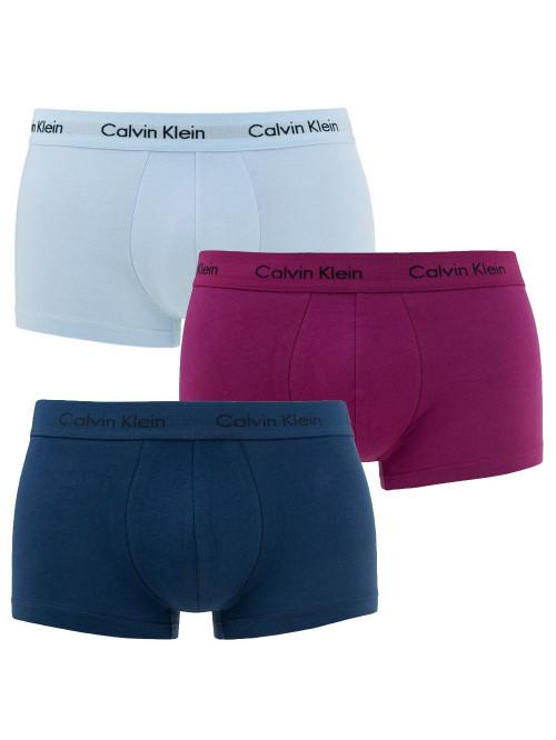 Pánské boxerky Calvin Klein Cotton Stretch světlemodré, modré, fialové 3-pack