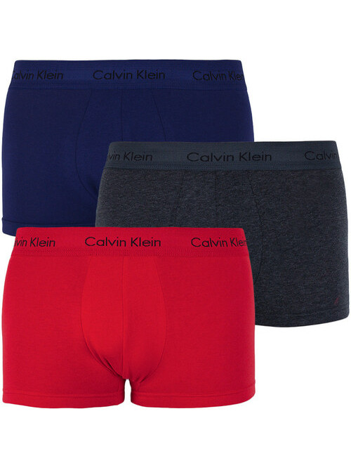 Pánské boxerky Calvin Klein Cotton Stretch Low Rise 3-pack modré, šedé, červené