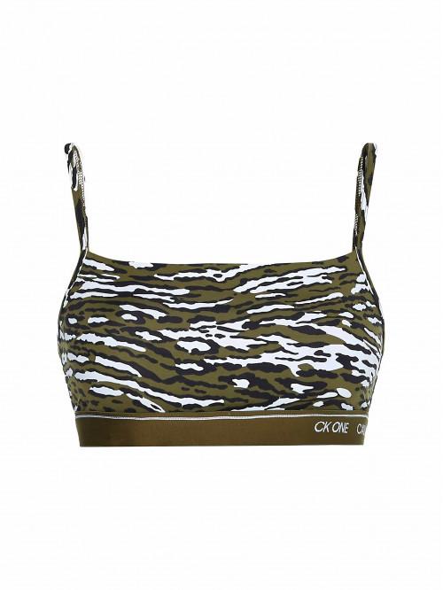 Dámská sportovní podprsenka Calvin Klein CK ONE Unlined Bra Disarming Animal kaki maskáčová
