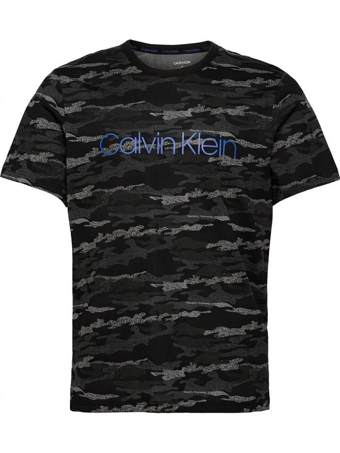 Pánské tričko Calvin Klein SS Crew Neck černé / maskáčové