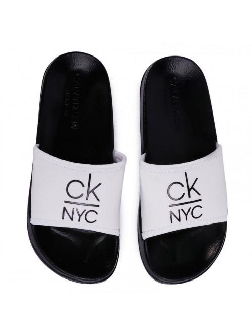 Dámské pantofle Calvin Klein NYC Slide bílo-černé