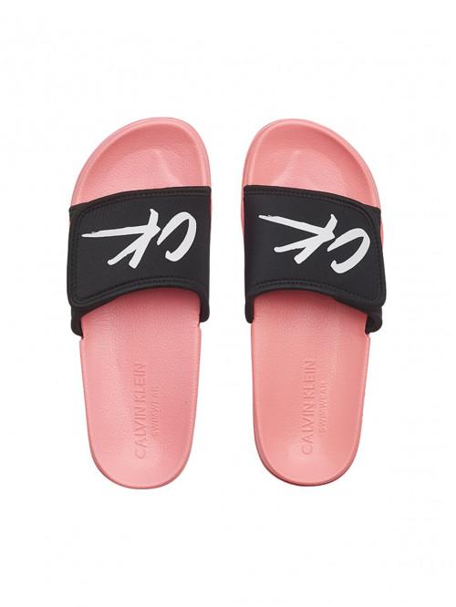 Dámské pantofle Calvin Klein Velcro Slide růžovo-černé