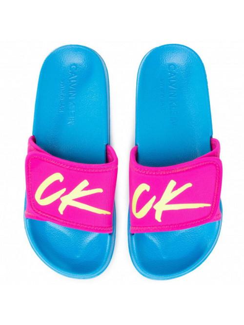 Dámské pantofle Calvin Klein Velcro Slide růžovo-tyrkysové