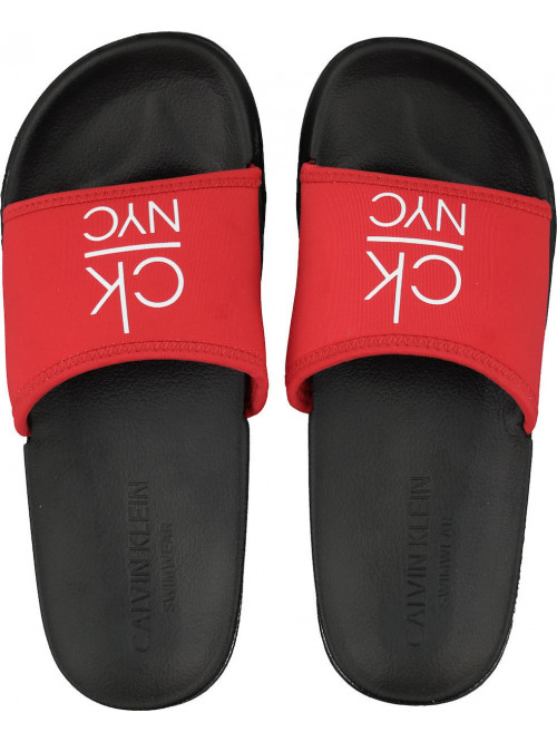 Dámské pantofle Calvin Klein NYC Slide červeno-černé
