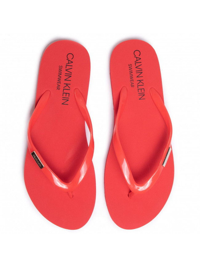 Dámské žabky Calvin Klein Swimwear Metal Logo červené