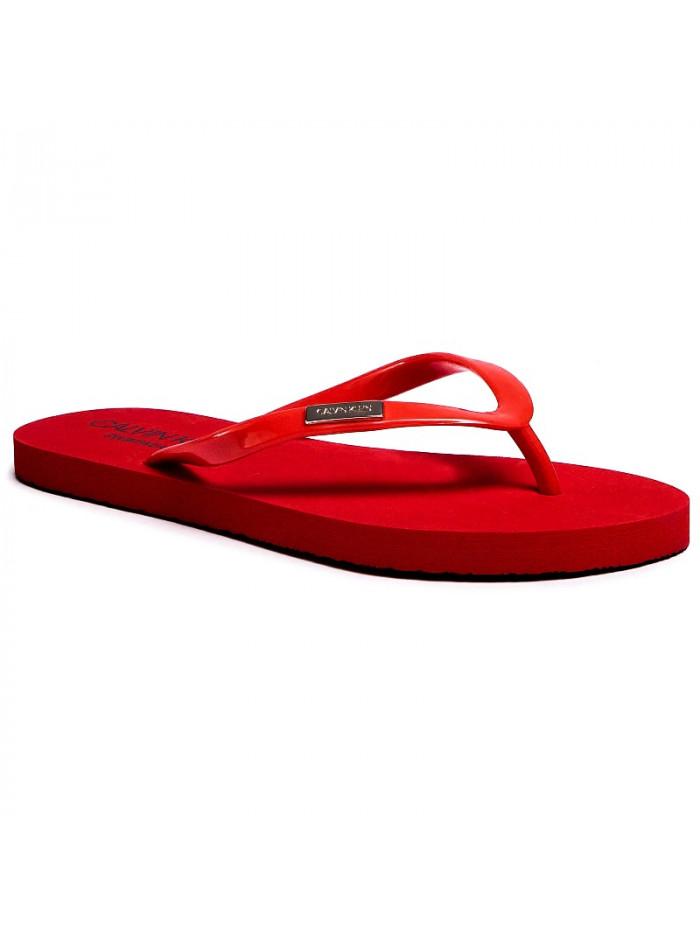 Dámské žabky Calvin Klein Swimwear Metal Logo tmavě červené