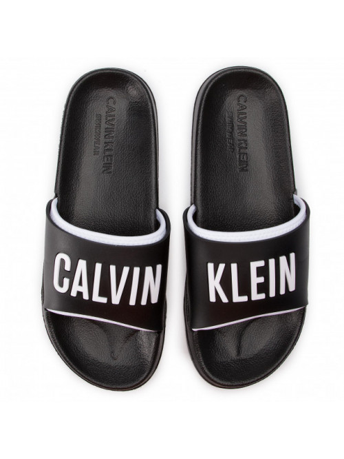 Pánské pantofle Calvin Klein Slide černo-bílé