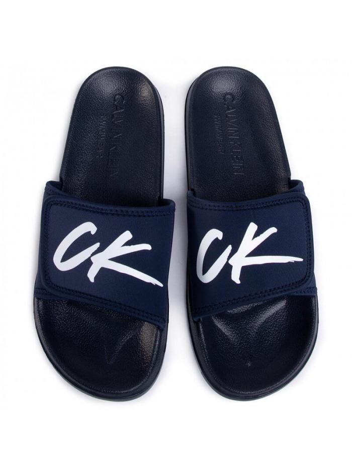 Pánské pantofle Calvin Klein Velcro Slide modré