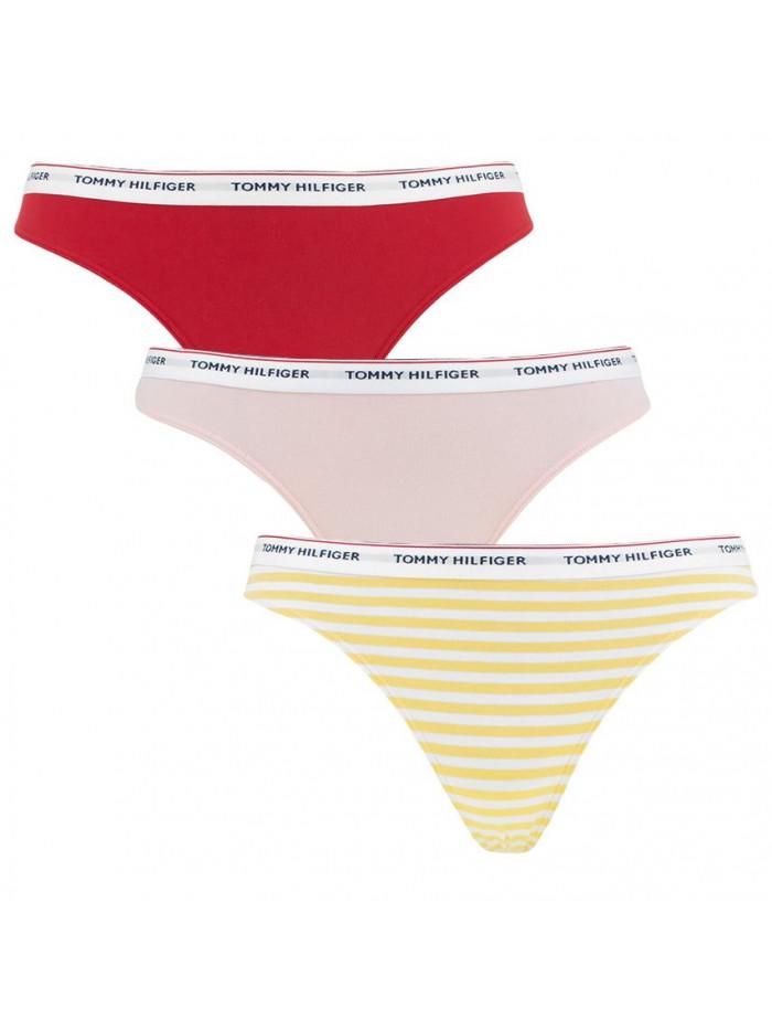 Dámská tanga Tommy Hilfiger Polka Dot Thongs 3-pack červené, růžové, žluté proužkované