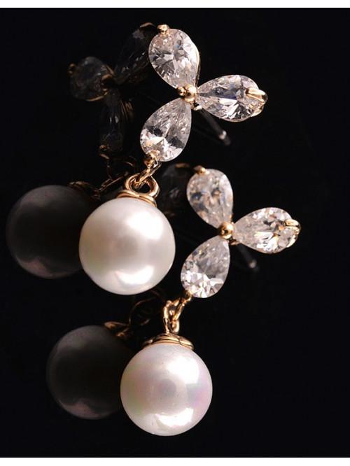Náušnice Bílá perla zlaté