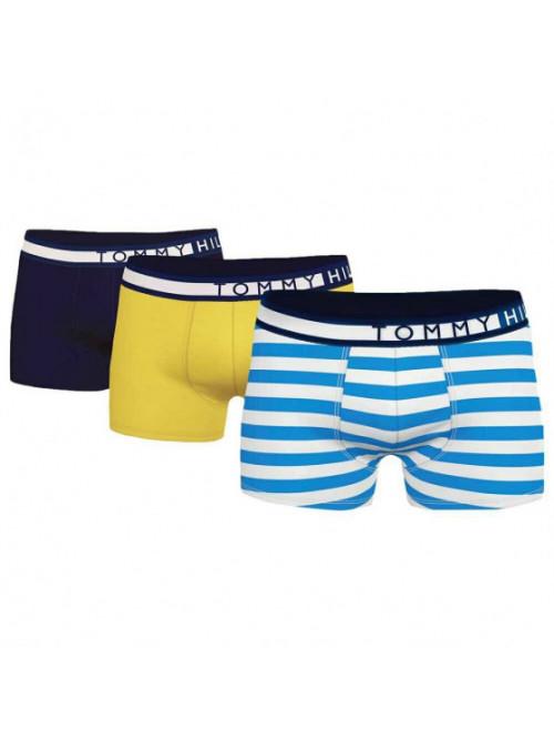 Pánské boxerky Tommy Hilfiger Organic Cotton černé, žluté, proužkované 3-pack