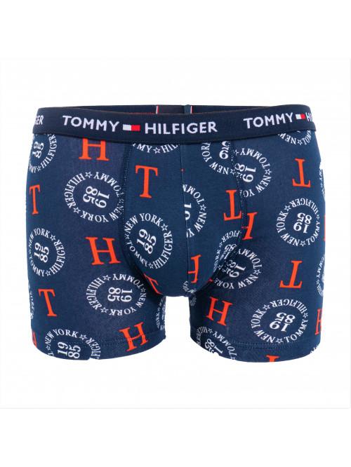 Pánské Boxerky Tommy Hilfiger All-Over Print Organic Cotton Trunks modré