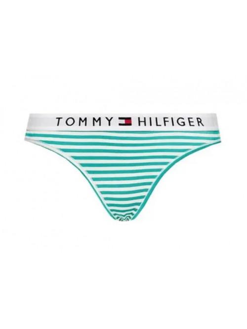 Dámská tanga Tommy Hilfiger Stripe Stretch Organic Cotton zelené proužky