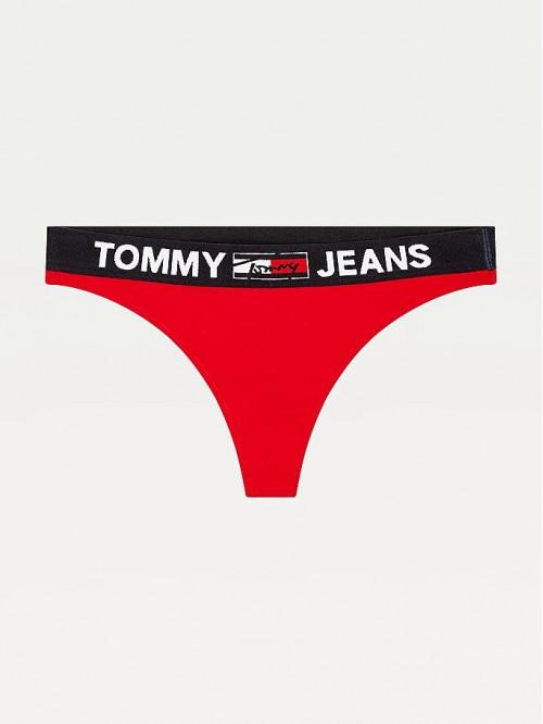 Dámské tangá Tommy Hilfiger Contrast Waistband Logo Thong červené