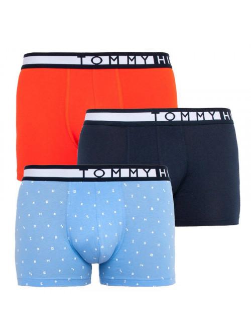 Pánské boxerky Tommy Hilfiger Organic Cotton světlemodré, modré, oranžové 3-pack