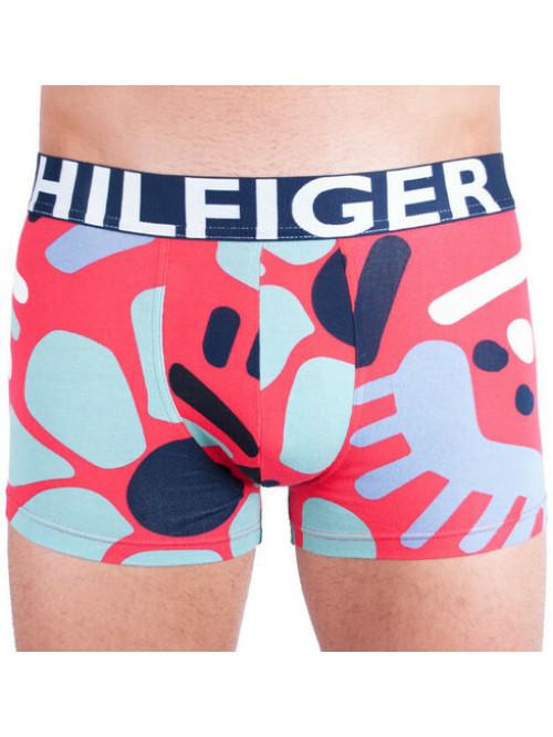 Pánské Boxerky Tommy Hilfiger Trunk Abstract Print červené, vzorované