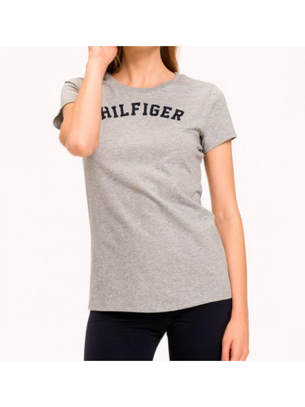 Dámské tričko Tommy Hilfiger SS TEE PRINT šedé