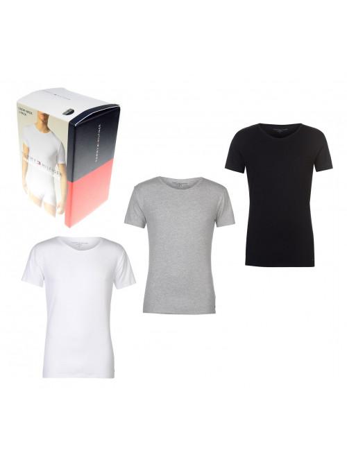 Pánské tričko Tommy Hilfiger C-Neck Tee SS bílé, šedé, černé 3-pack