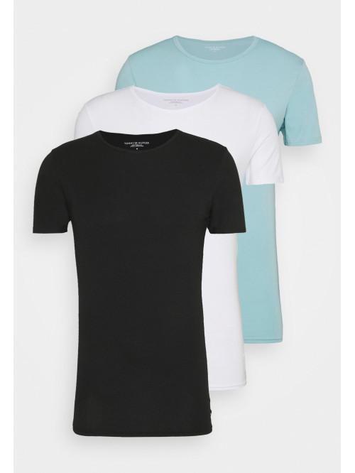 Pánská trička Tommy Hilfiger C-Neck Tee SS černé, bílé, světlemodré 3-pack