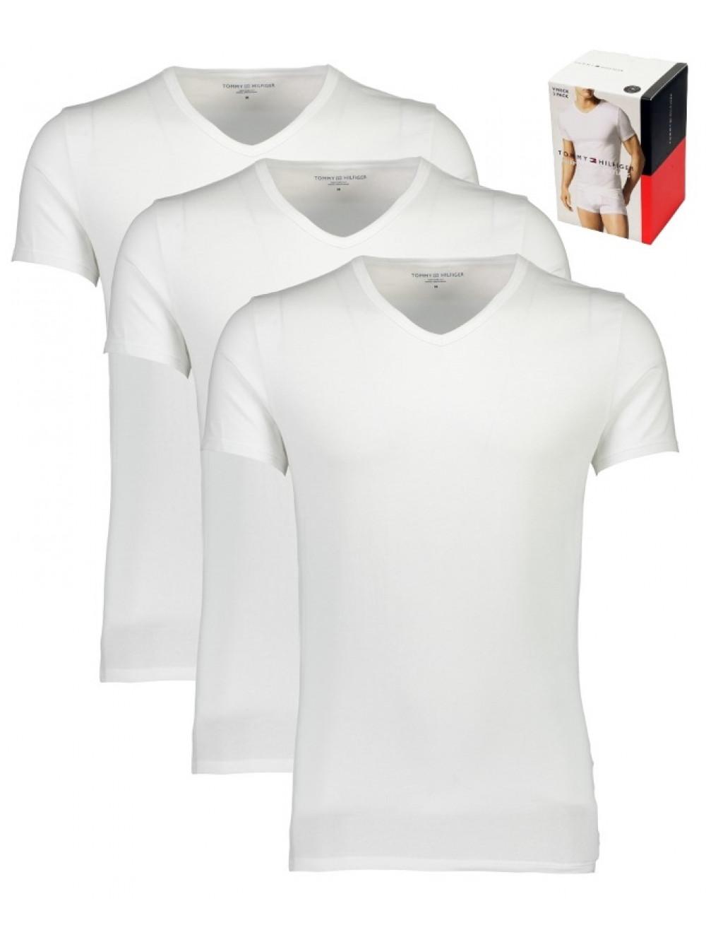 Pánské trička Tommy Hilfiger V-Neck Tee SS bílé 3-pack