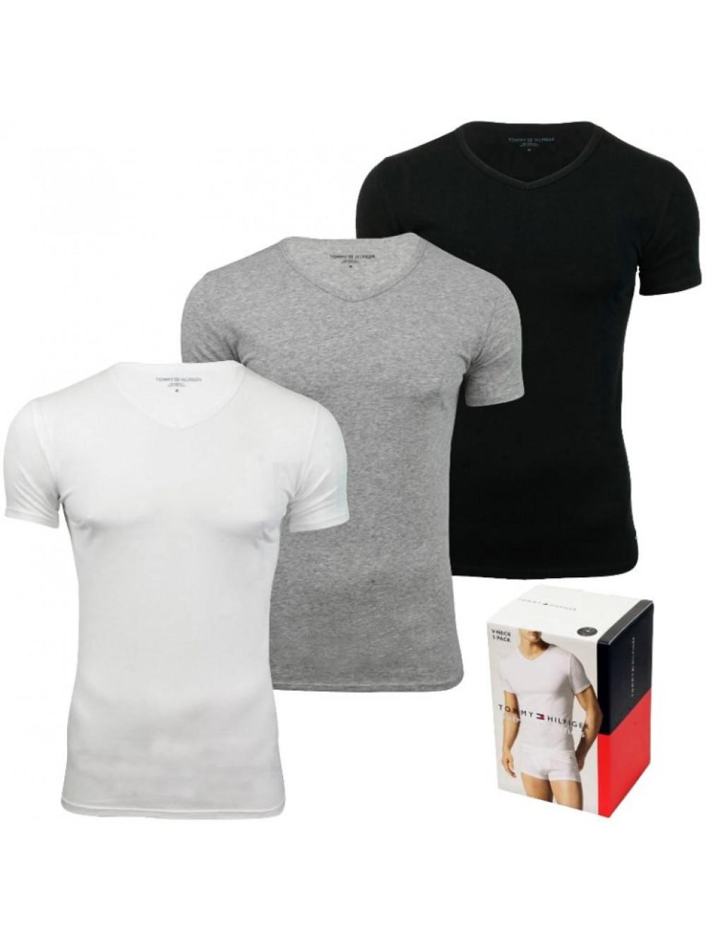 Pánské trička Tommy Hilfiger V-Neck Tee SS bílé, šedé, černé 3-pack