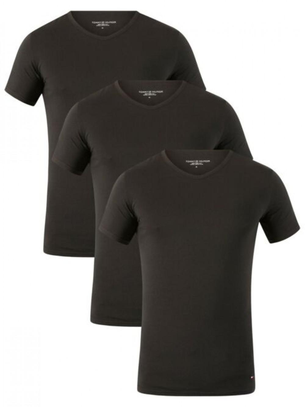 Pánské tričko Tommy Hilfiger V-Neck Tee SS černé 3-pack