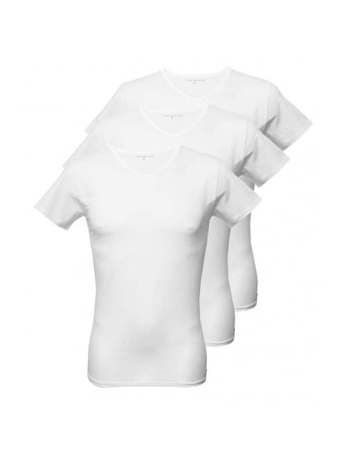Pánské tričko Tommy Hilfiger V-Neck Tee SS bílé 3-pack