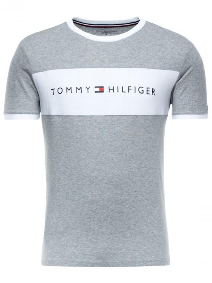 Pánské tričko Tommy Hilfiger Tee Logo Flag šedé