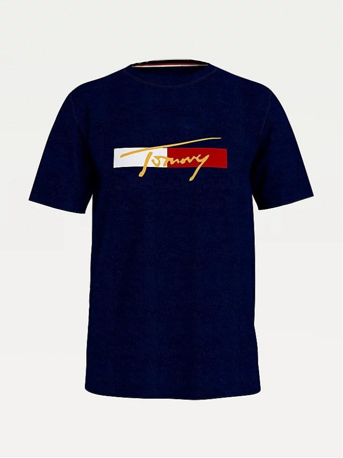 Pánské tričko Tommy Hilfiger Organic Cotton Logo Modré