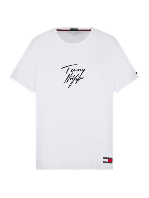 Pánské tričko Tommy Hilfiger Signature Logo bílé
