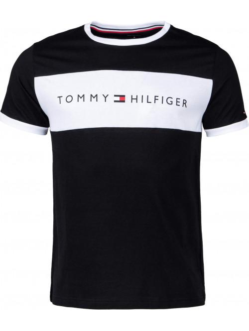 Pánské tričko Tommy Hilfiger Tee Logo Flag černé