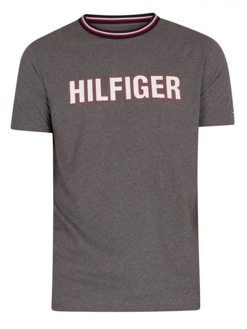 Pánské tričko Tommy Hilfiger CN SS Tee Graphic Lounge šedé