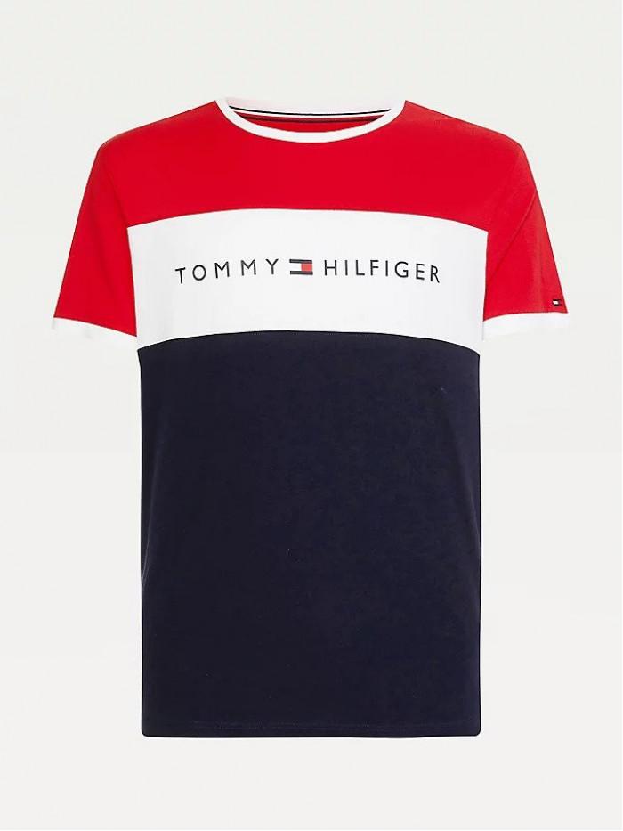 Pánské tričko Tommy Hilfiger CN SS Tee Logo Flag červené