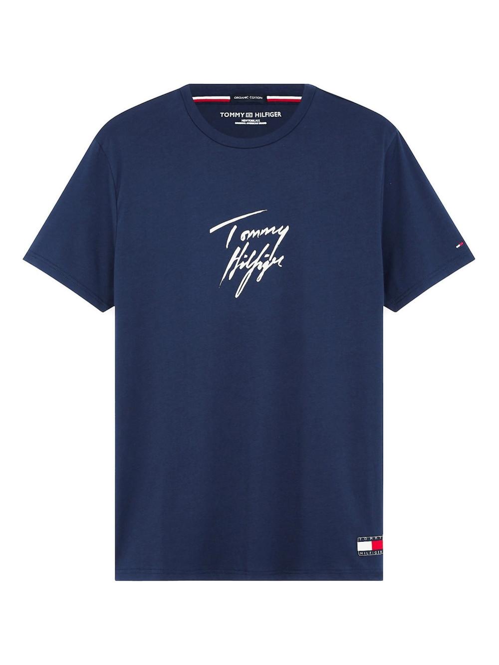 Pánské tričko Tommy Hilfiger Signature Logo modré