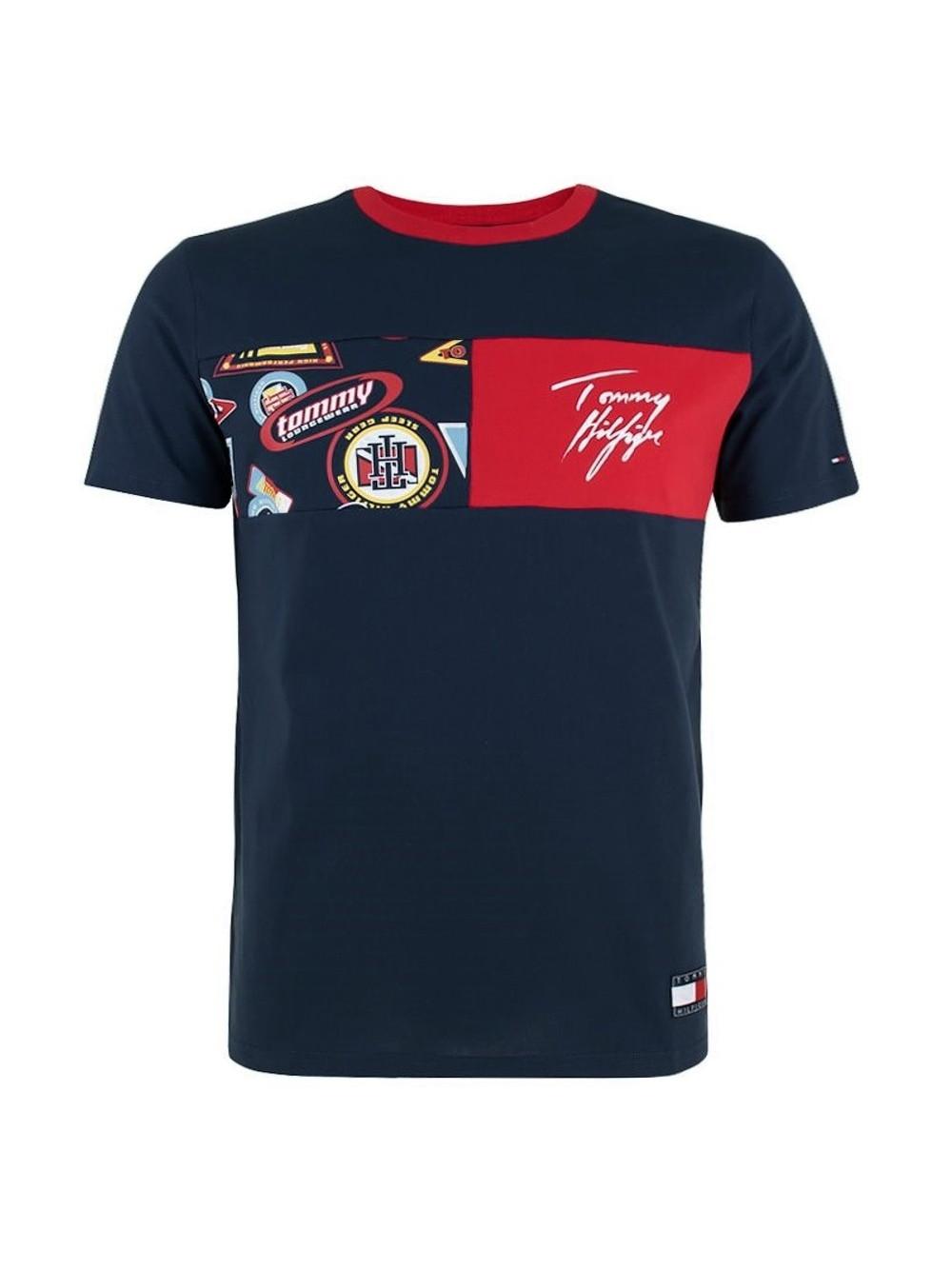Pánské tričko Tommy Hilfiger CN SS Tee Print modré