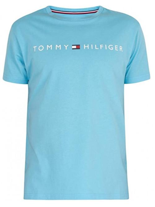 Pánské tričko Tommy Hilfiger Crew Neck Tee Logo tyrkysové