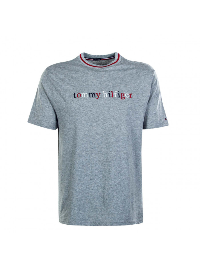 Pánske tričko Tommy Hilfiger Organic Cotton Logo T-shirt šedé