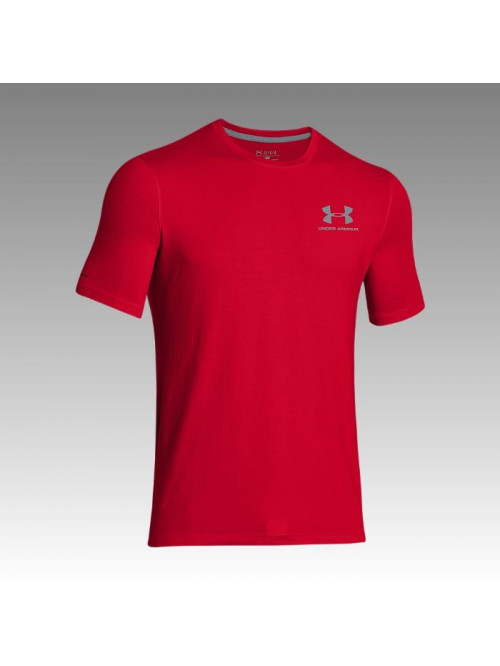 Pánske volní tričko Under Armour Left Chest Logo Tee červené