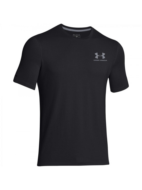 Pánske volní tričko Under Armour Left Chest Logo Tee tmavošedé až černé