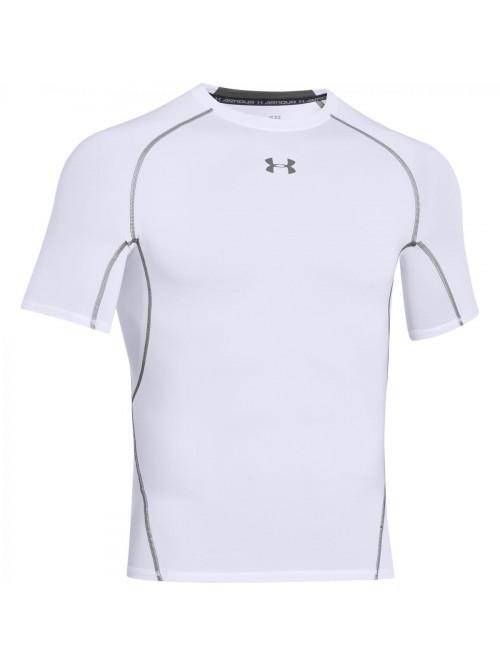 Pánské kompresní tričko Under Armour HeatGear Short Sleeve bílé