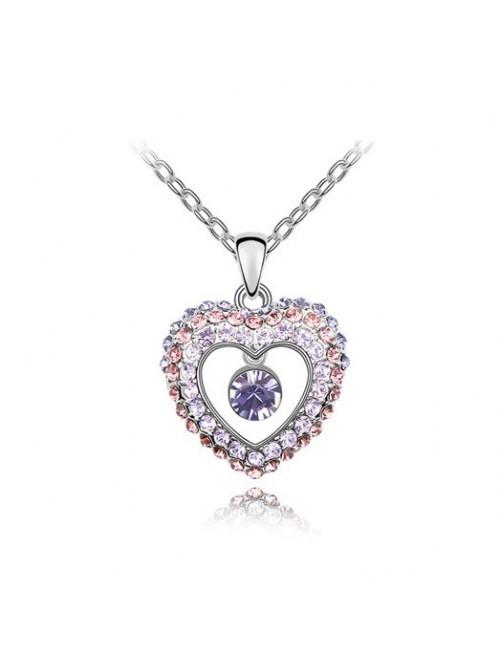 Náhrdelník bijící srdce fialové