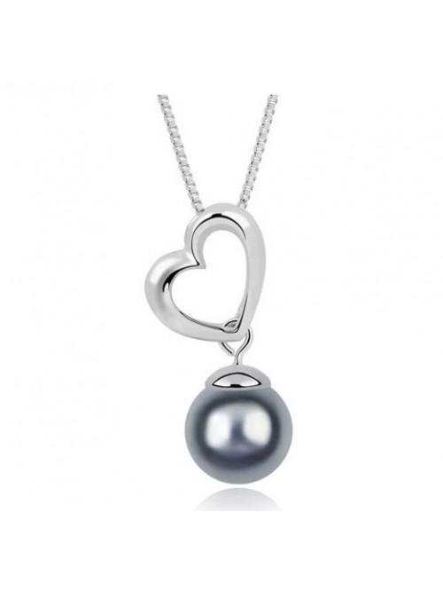 Náhrdelník Srdce s Perlou stříbrno-šedé